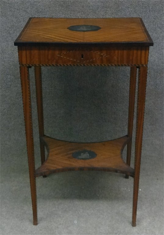 SATINWOOD INLAID LADIES WORK STAND W/ LIFT LID - 3