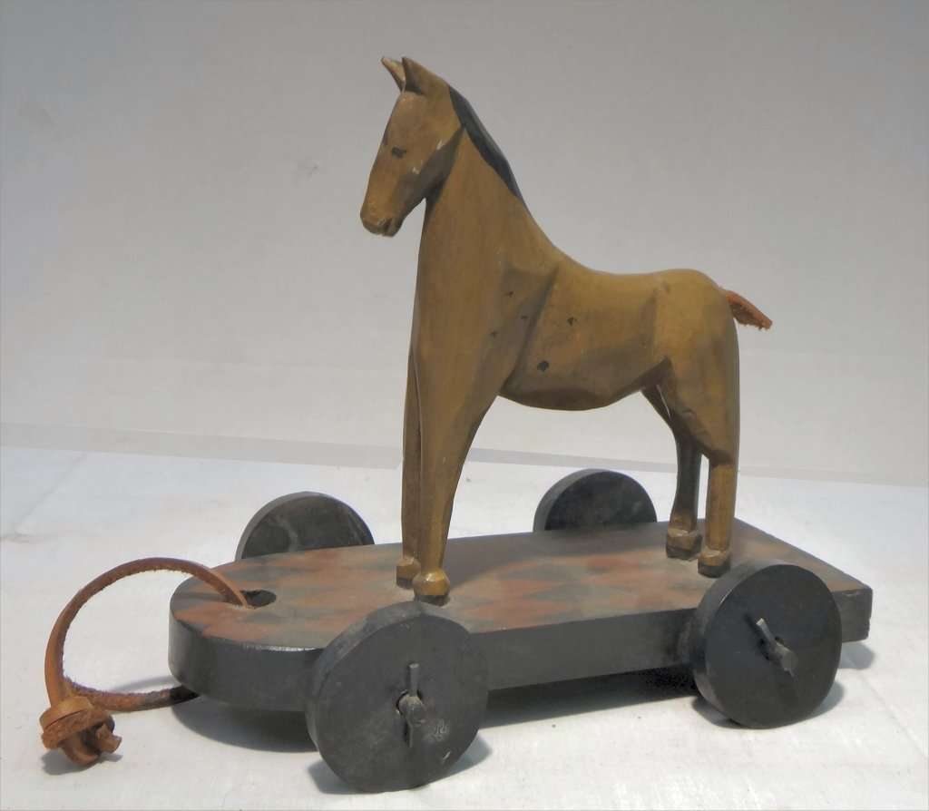 6 FOLK CARVED WOODEN ANIMALS: HORSE SGND KOOSED, - 4