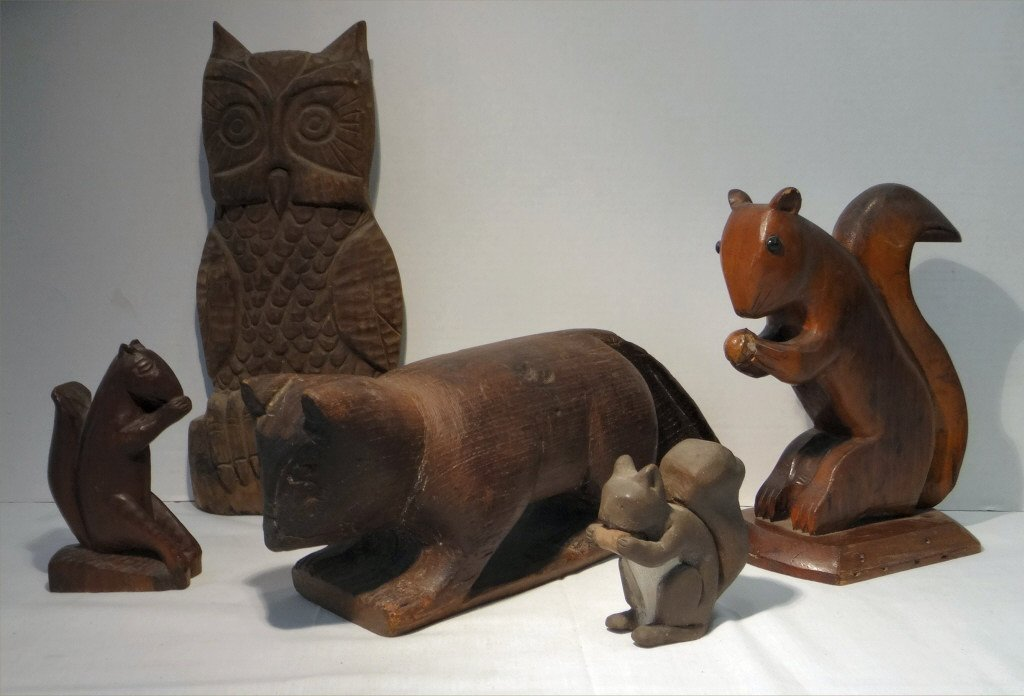 5 FOLK CARVED WOODEN ANIMALS:EARLY 19THC. CAT, OWL
