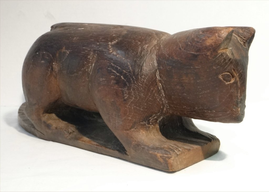 5 FOLK CARVED WOODEN ANIMALS:EARLY 19THC. CAT, OWL - 2