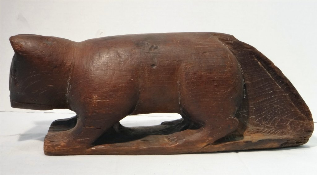 5 FOLK CARVED WOODEN ANIMALS:EARLY 19THC. CAT, OWL - 3