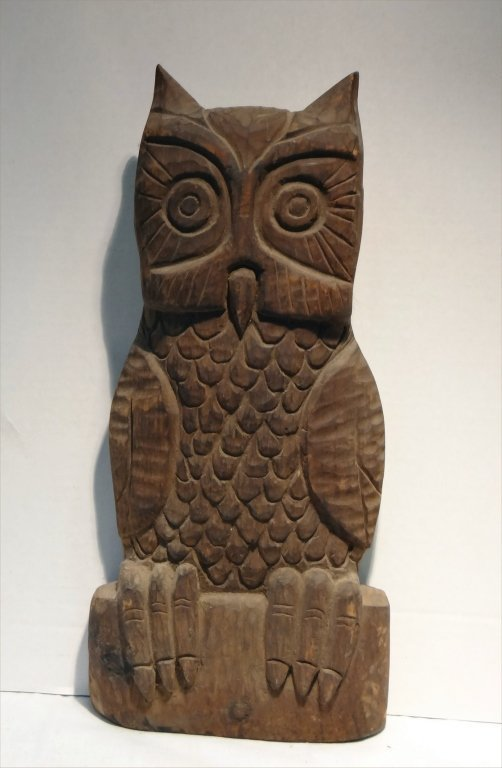 5 FOLK CARVED WOODEN ANIMALS:EARLY 19THC. CAT, OWL - 6
