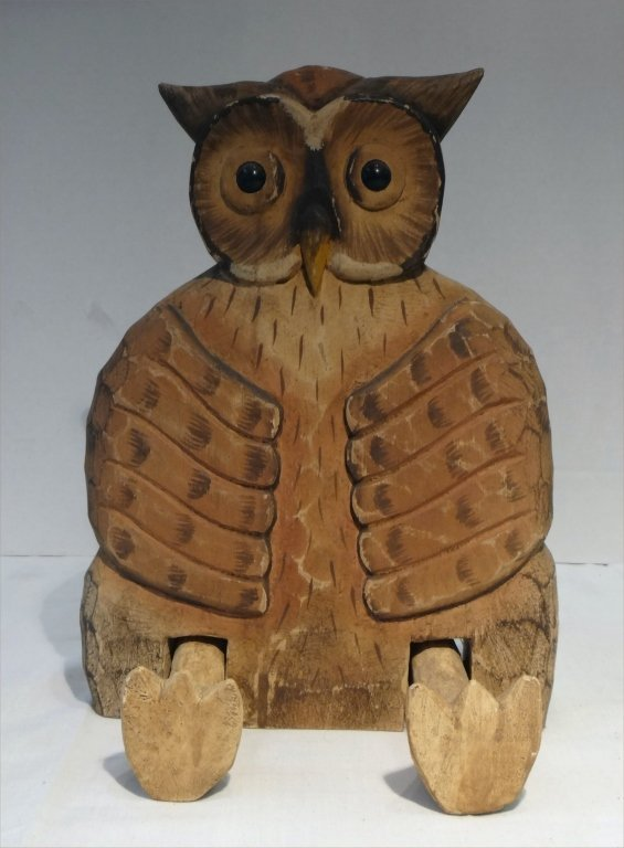 4 FOLK CARVED WOODEN ANIMALS:SEATED OWL, ROOSTER - 4