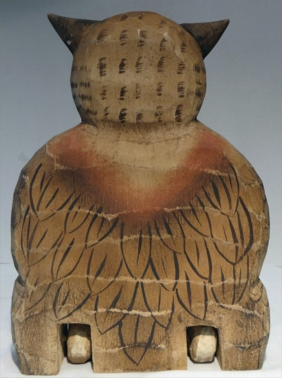 4 FOLK CARVED WOODEN ANIMALS:SEATED OWL, ROOSTER - 5