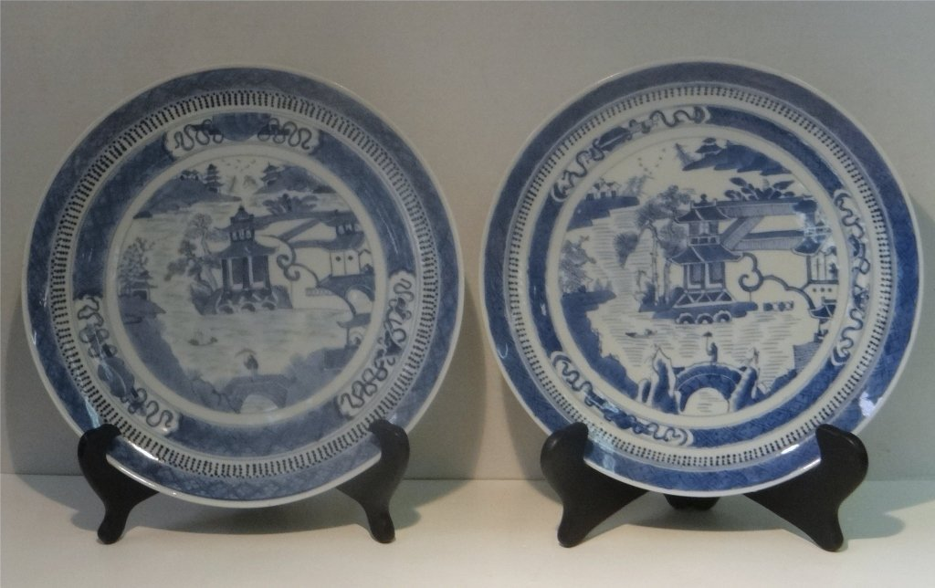 "PR OF EARLY NANKING 10"" BLUE & WHITE PLATES - 2"