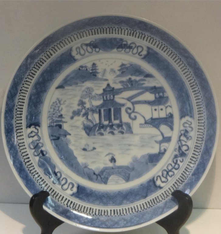 "PR OF EARLY NANKING 10"" BLUE & WHITE PLATES - 3"