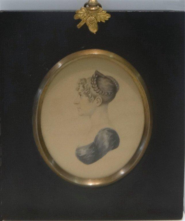 "MINIATURE PORTRAIT IN PROFILE C. 1810 3 1/2"" X 3"""