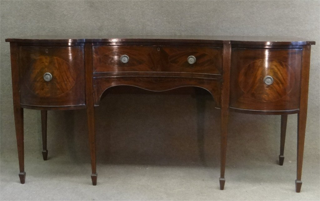 SERPENTINE FRONT INLAID ENGLISH SIDEBOARD