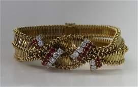 FRENCH 18K YELLOW GOLD, RUBY & DIAMOND BRACELET