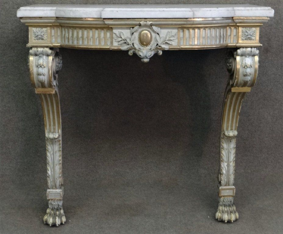 MARBLE TOP CONSOLE TABLE, PROB. ITALIAN LATE 19THC