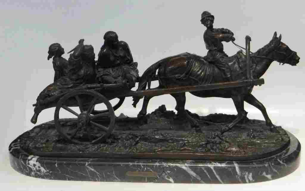 """RUSSIAN BRONZE GROUP """"HOME FROM THE HARVEST FIELD"""""""