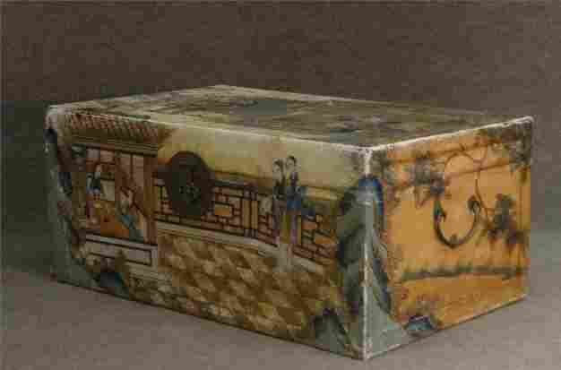 ORIENTAL PIGSKIN COVERED BOX W/ PAINT DECORATION