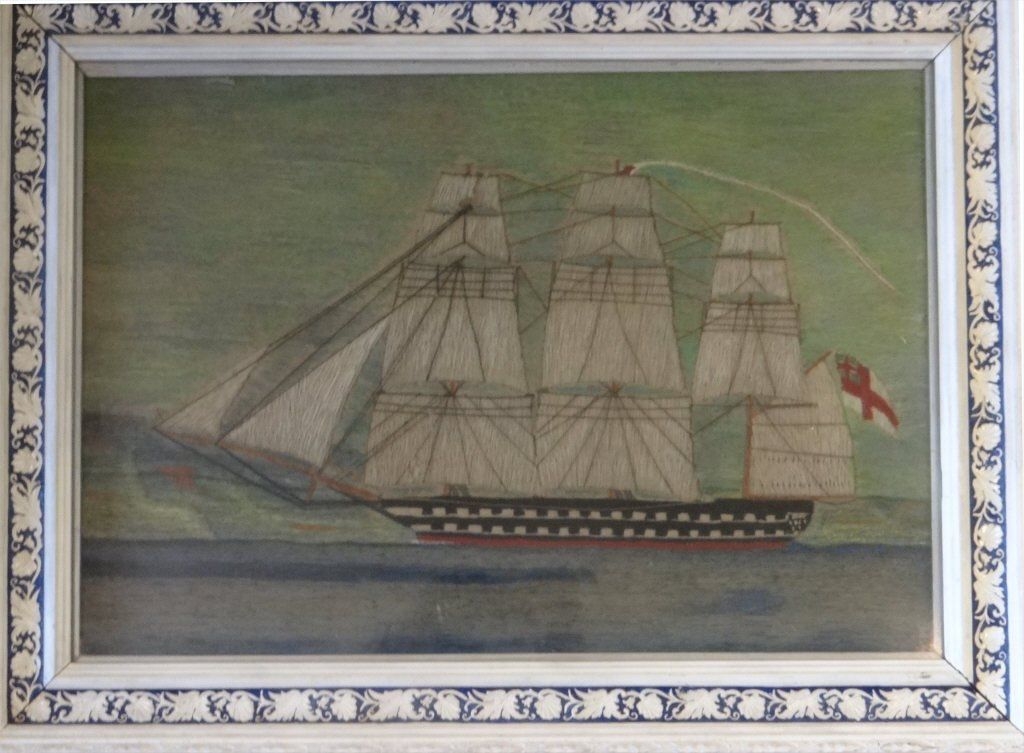 19THC. SAILORS WOOLWORK CLIPPER SHIP PICTURE