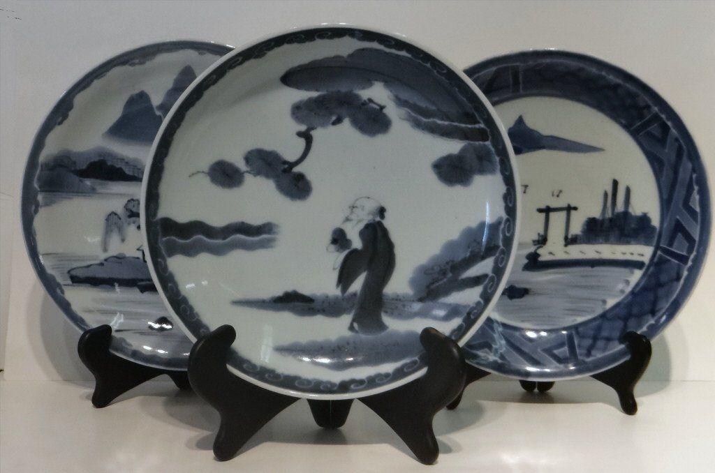 """3 ORIENTAL BLUE & WHITE PLATES 11 3/8"""" DIAM"""