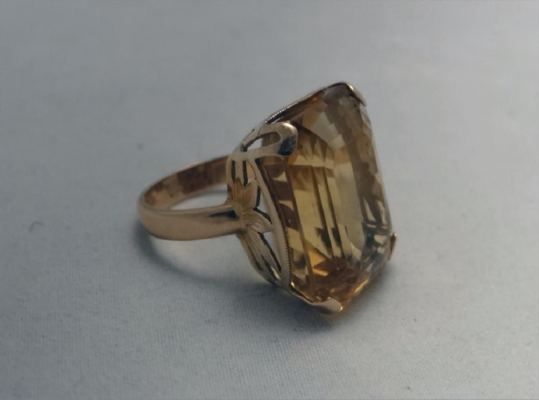 LARGE EMERALD CUT CITRINE IN 14K YELLOW GOLD RING