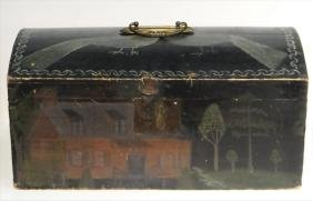 19THC. DOME TOP PAINT DECORATED BOX