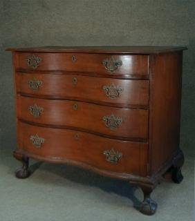 SERPENTINE BLOCK FRONT CHERRY CHIPPENDALE CHEST
