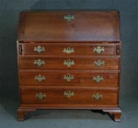 18THC. CHERRY SLANT LID DESK  W/ BRACKET FEET