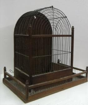 19THC. WOOD AND WIRE BIRD CAGE