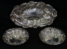 3 STERLING SILVER DISHES W/ REPOUSSE FLORAL DECOR.
