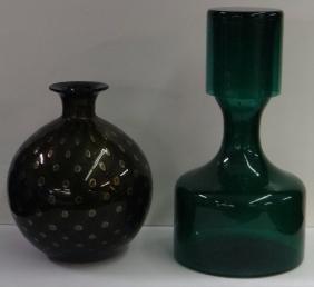 """SGND MURANO GLASS VASE 7 1/2"""" & EMERALD GREEN GLAS"""