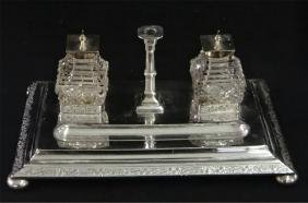ENG. SILVER PLATED INK STAND W/ TAPER HOLDER