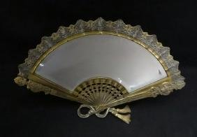 FAN SHAPED DRESSER MIRROR  W/ BEVELED GLASS