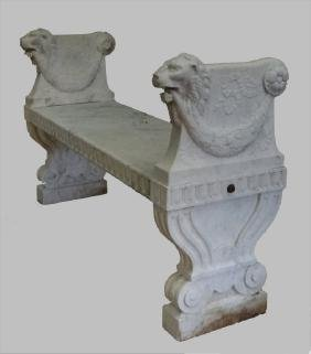 19THC. CLASSICALLY CARVED MARBLE BENCH W/ LIONS