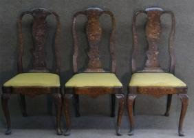 3 QUEEN ANNE DUTCH MARQUETRY INLAID SIDE CHAIRS