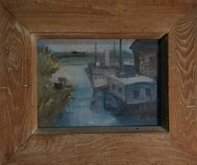 "O/C ""BOAT AT DOCK"" UNSGND 10"" X 14"""