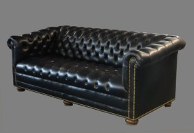 "LEATHER CHESTERFIELD SOFA 76"" LONG"