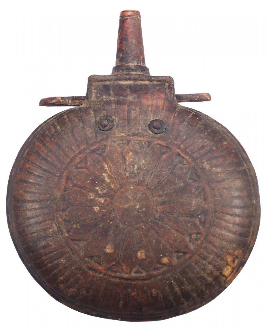 21: RARE ANTIQUE CENTRAL ASIAN POWDER FLASK C.1800