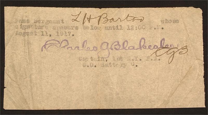 13: WWI MILITARY PASS
