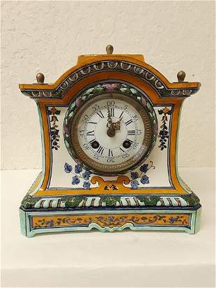 Antique Lenzkirch China Mantel Clock Signed Works