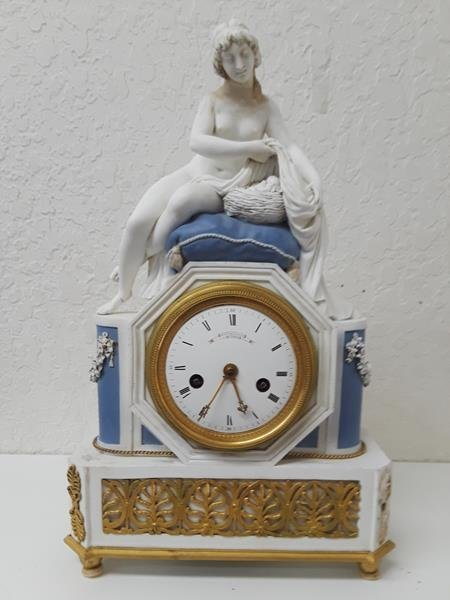Gaston Jolly French Bisque Biscuit Porcelain Clock