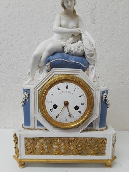 Gaston Jolly French Bisque Biscuit Porcelain Clock - 2