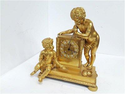 French Gilt Cherub Dore Bronze Figural Mantle Clock