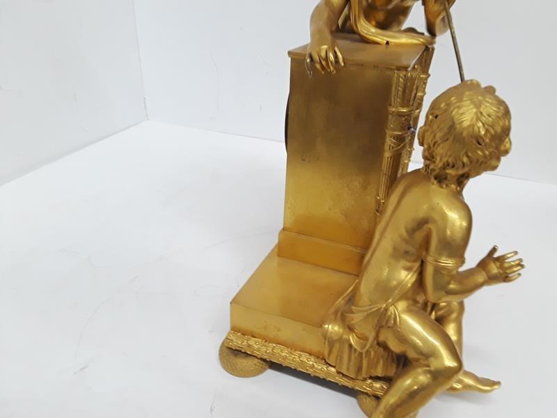 French Gilt Cherub Dore Bronze Figural Mantle Clock - 2