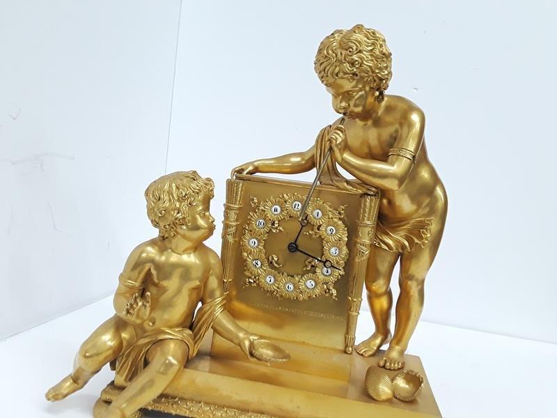 French Gilt Cherub Dore Bronze Figural Mantle Clock - 6