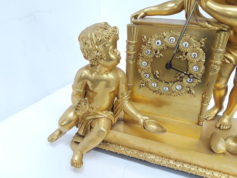 French Gilt Cherub Dore Bronze Figural Mantle Clock - 7