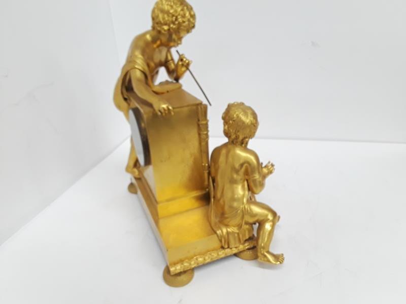 French Gilt Cherub Dore Bronze Figural Mantle Clock - 9