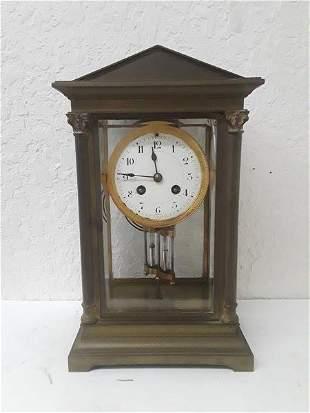 French Crystal Regulator Clock Columns Greek Empire