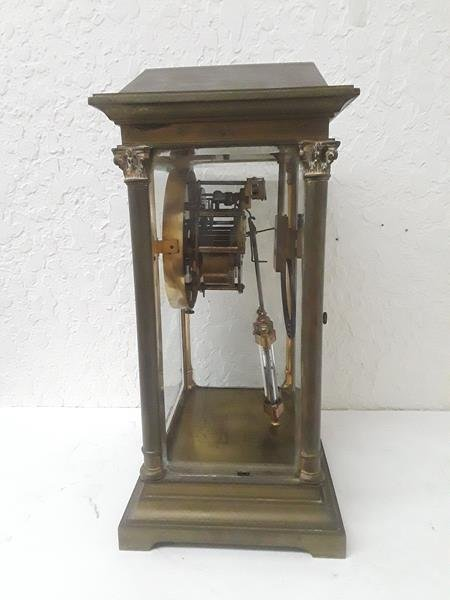 French Crystal Regulator Clock Columns Greek Empire - 2
