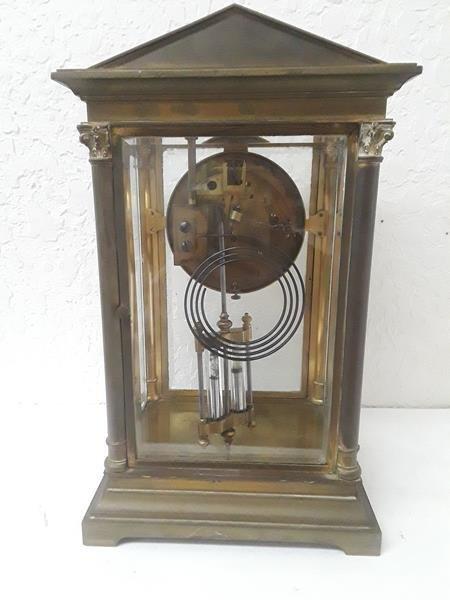 French Crystal Regulator Clock Columns Greek Empire - 3