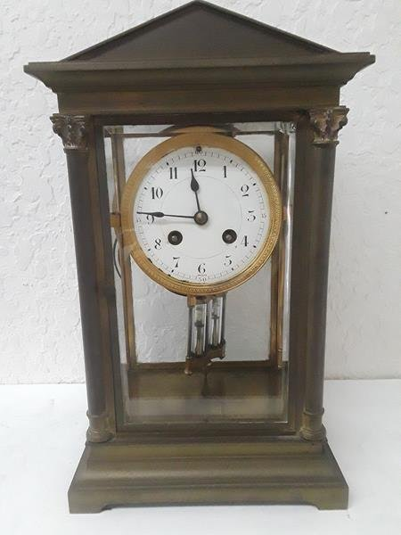 French Crystal Regulator Clock Columns Greek Empire - 4