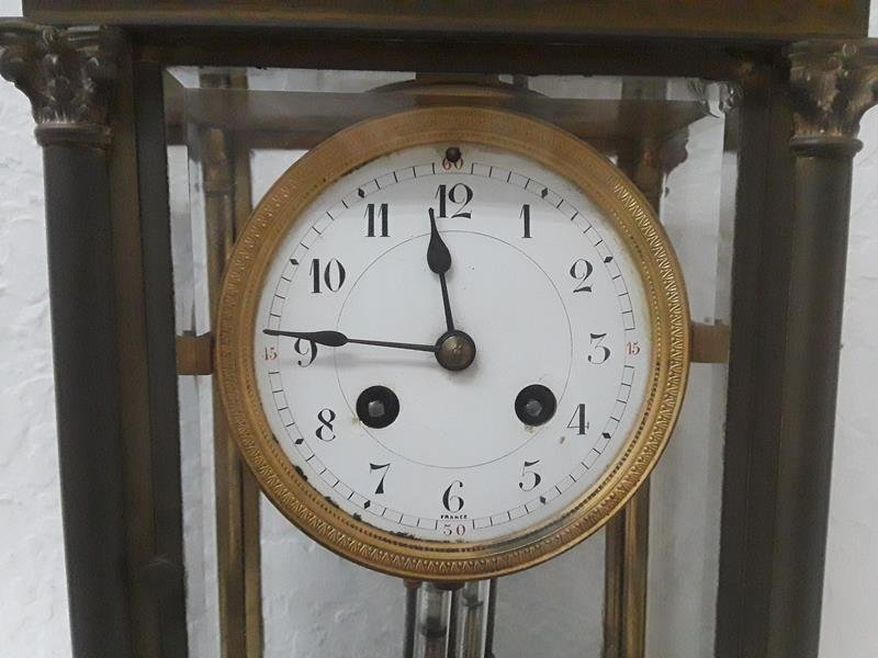 French Crystal Regulator Clock Columns Greek Empire - 5