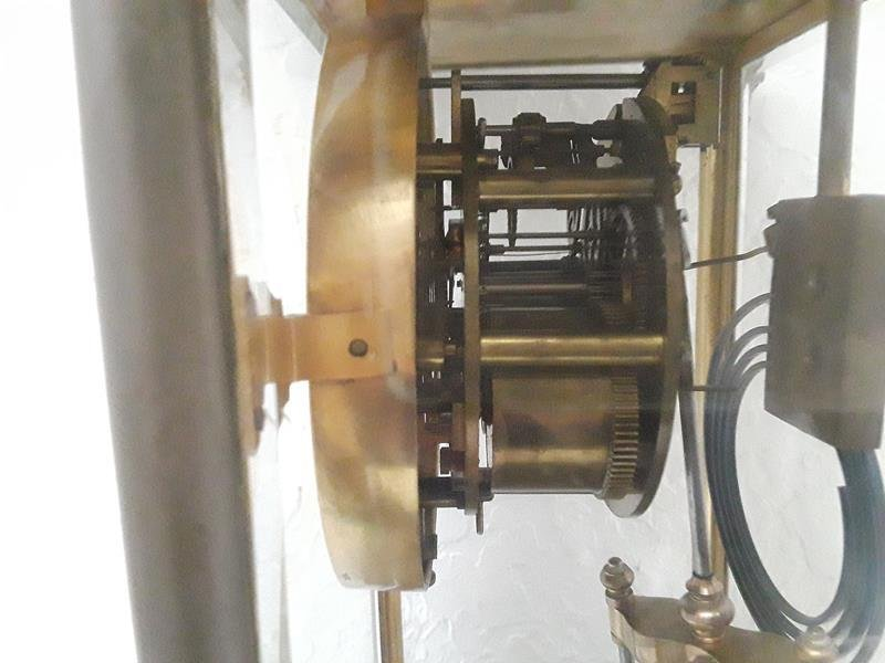 French Crystal Regulator Clock Columns Greek Empire - 6