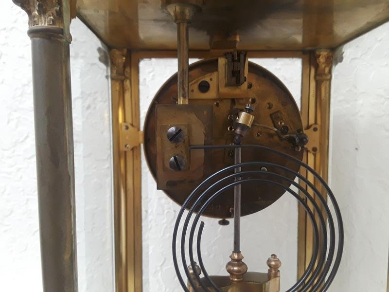 French Crystal Regulator Clock Columns Greek Empire - 8