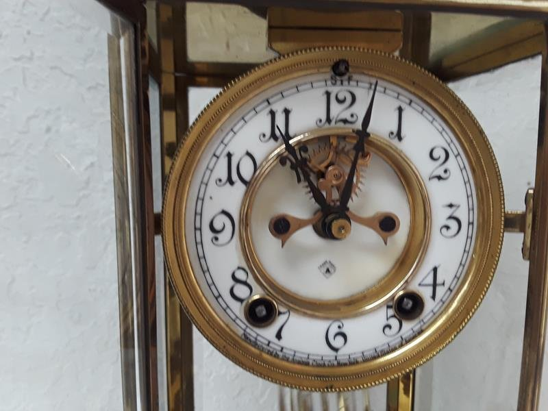 Ansonia USA Crystal Regulator Clock Working Open Escape - 3