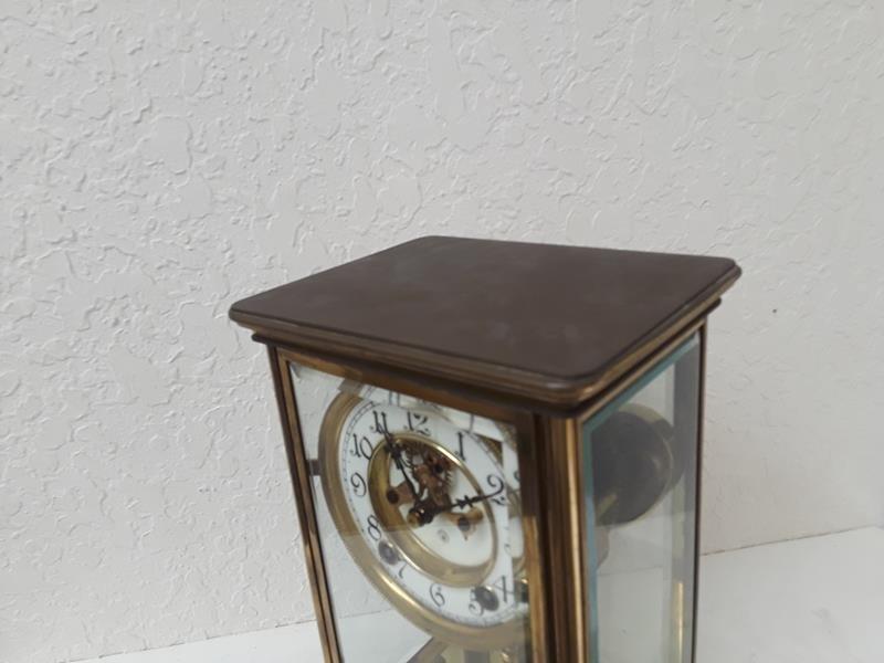 Ansonia USA Crystal Regulator Clock Working Open Escape - 7